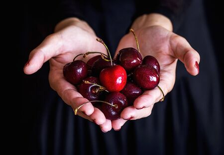 Cherries in a womans hand against a black background