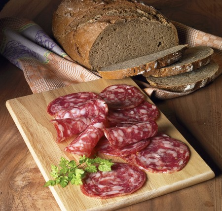 salame: Supper with dark bread and salchichon LANG_EVOIMAGES