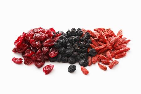 Dried cranberries, aronia berries and goji berries