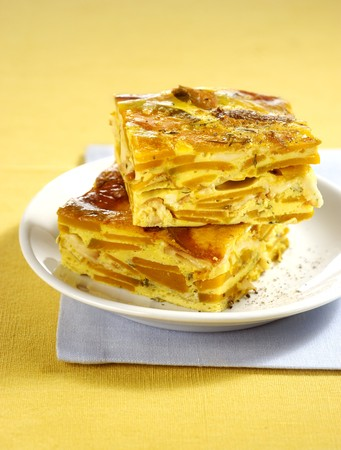 Two slices of pumpkin frittata