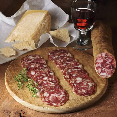 salame: Salchichon and Parmesan cheese with red wine