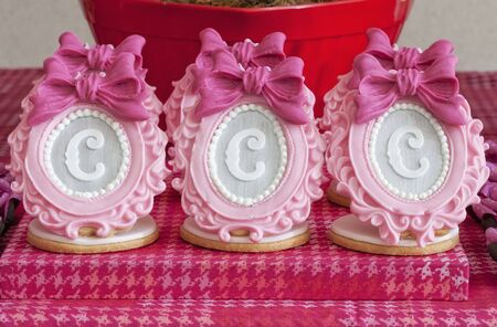 letter c: Elaborate sugar decorations with letters on shortbread biscuits LANG_EVOIMAGES
