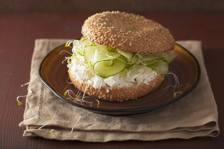filled roll: A bagel filled with cucumber, feta cheese and alfalfa sprouts
