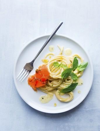 Tagliatelle with lemon sauce, salmon and basil