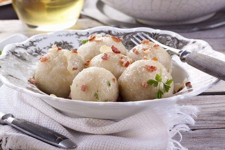 Potato dumplings with bacon