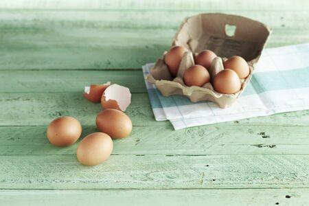 An arrangement of eggs and egg shells