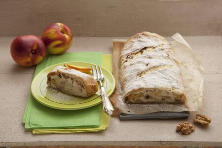 Apple strudel with walnuts