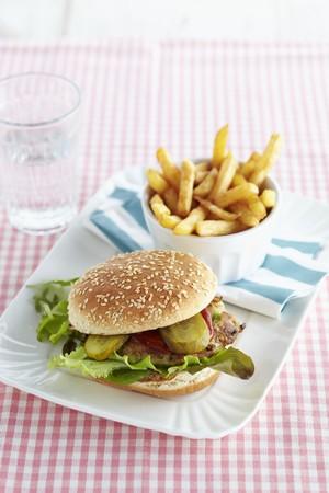 checker: A mackerel burger with chips