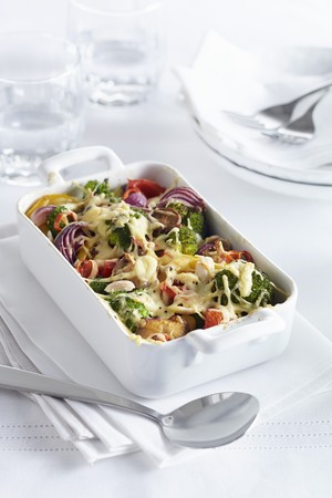 Colourful vegetable bake with cheese