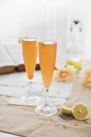cava: Cava cocktails with lemon for two