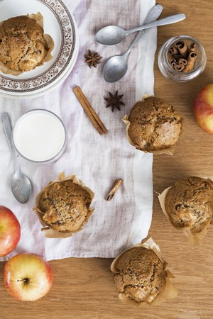 spice: Apple and cinnamon muffins and a glass of milk LANG_EVOIMAGES