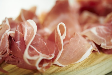 Sliced Parma ham (close up)