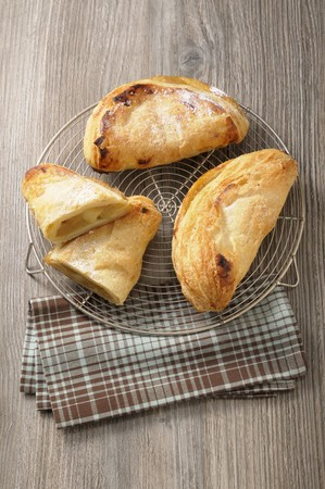 danish puff pastry: Apple turnovers on a wire rack