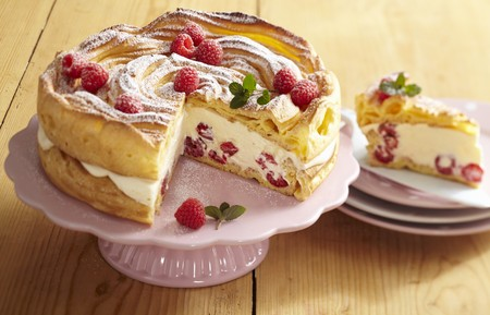 gateau: A light creamy cheesecake made from choux pastry with raspberries