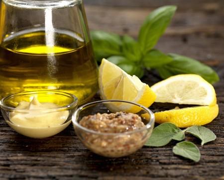 wholegrain mustard: olive oil dressing ingredients with dijon mustard and wholegrain mustard with lemon basil and sage