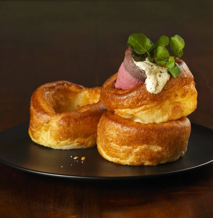 berro: yorkshire puddings with a slice of raost beef, horseraddish and watercress