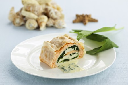 Salmon trout roulade on wild garlic butter