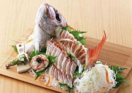 Arranged sea bream sashimi