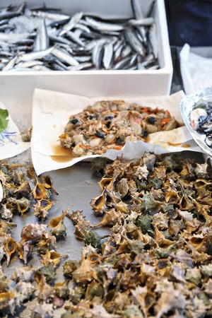 coquille: Spiny dye murex, scallops and sardines at a fish market in Venice LANG_EVOIMAGES