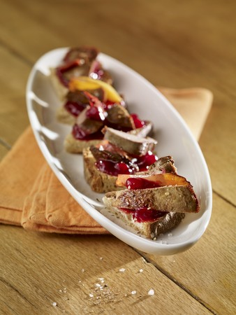 Canap�s with chicken liver, apples and lingonberry compote