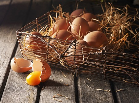 An arrangement of brown eggs in a wire basket with wooden shavings LANG_EVOIMAGES