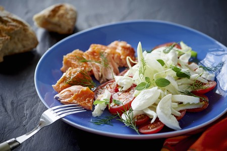 Tomato and fennel salad with mozzarella and salmon