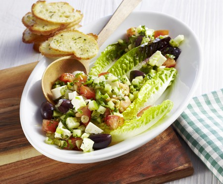 Cos lettuce with cucumber, tomatoes, olives, feta cheese and sage bread thins LANG_EVOIMAGES