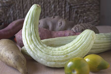 wild yam: An arrangement of vegetables with wild cucumbers