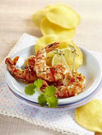 Marinated prawns with tostadas