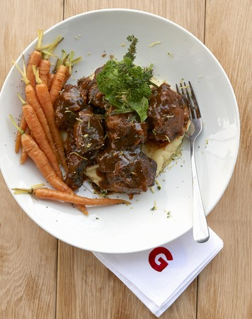 bullock: Oxtail ragout on mashed potatoes and parsnips with carrots