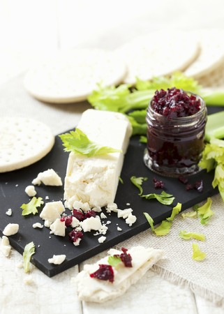 Lancashire cheese, crackers and beetroot chutney
