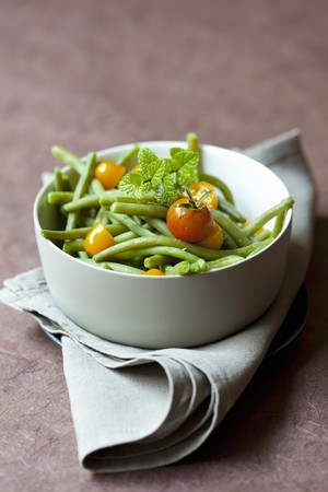 A green bean and tomato salad