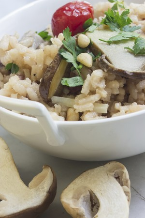 whiteness: Porcini mushroom risotto with pine nuts, date tomatoes and parsley