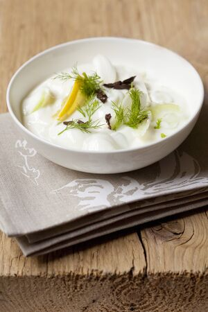 Tzatziki with cucumber, lemons and dill