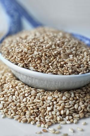 food: Sesame seeds on an oriental porcelain spoon