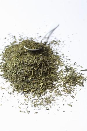 sencha: Dried Sencha tea leaves