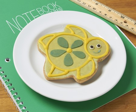 bakery products: A turtle shaped biscuit decorated with icing on a notebook
