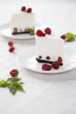 Two slices of coconut cheesecake with fresh raspberries LANG_EVOIMAGES