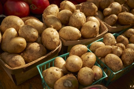 Baskets of potatoes at the Union Square Greenmarket, Manhattan, New York City, USA LANG_EVOIMAGES