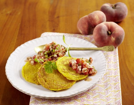Chickpea pancakes with vineyard peach salsa LANG_EVOIMAGES
