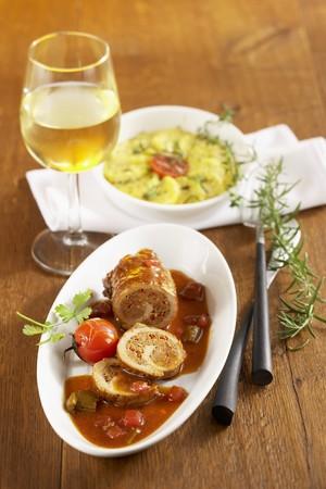 Pork roulade with a potato gratin