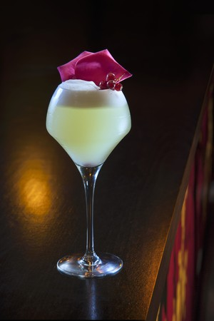 alcohol series: A cocktail made with vodka and lemon on a bar (Buddha-Bar Hotel, Paris)