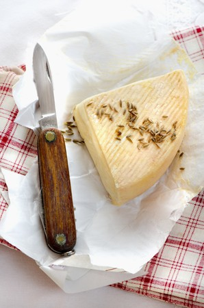 A slice of Alsatian Munster cheese LANG_EVOIMAGES