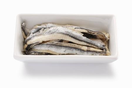 sardine: Sardine fillets preserved in oil in a porcelain dish