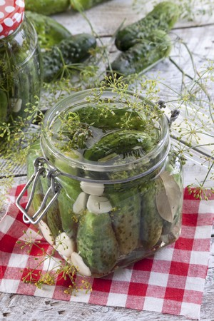 Gherkins with garlic and dill in a preserving jar LANG_EVOIMAGES