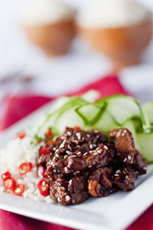 food: Beef in hoi-sin sauce with roasted sesame seeds served with rice with chilles and a cucumber salad LANG_EVOIMAGES