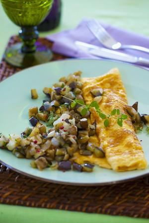 Aubergine omelettes