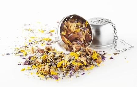 infuser: Unbrewed herb tea in a tea infuser