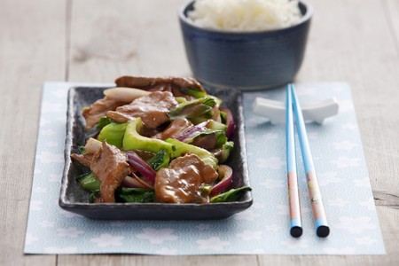whiteness: Pork with plum and wasabi sauce and vegetables LANG_EVOIMAGES