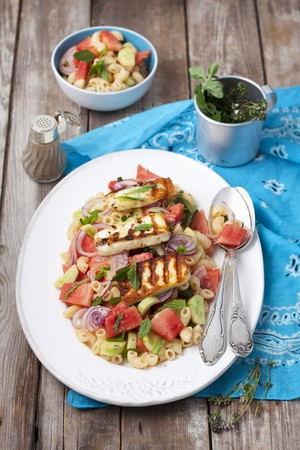 haloumi: Chifferi salad with watermelon, cucumber, mint and grilled halloumi LANG_EVOIMAGES
